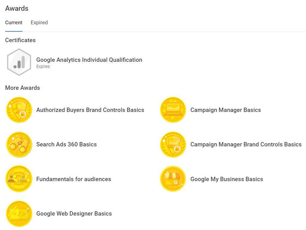 Google SkillShop Awards Dashboard
